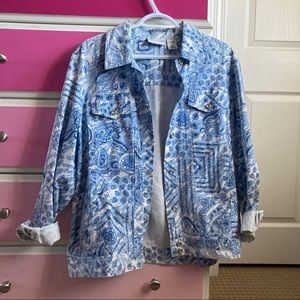 Alfred dunner patterned blue and white jacket